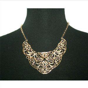 Fashion Necklace Goldtones Filigree Jointed